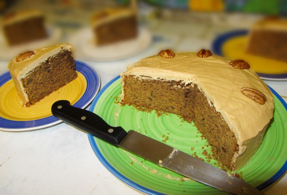 Coffee and walnut cake - cut