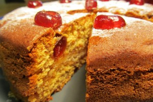 Cherry and Marzipan Cake - Cut
