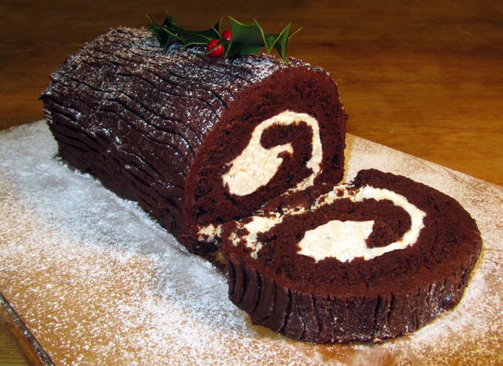 Chocolate Log Sliced