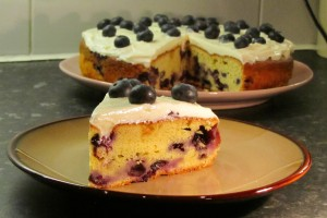 Soured Cream Blueberry Cake Recipe - Sliced