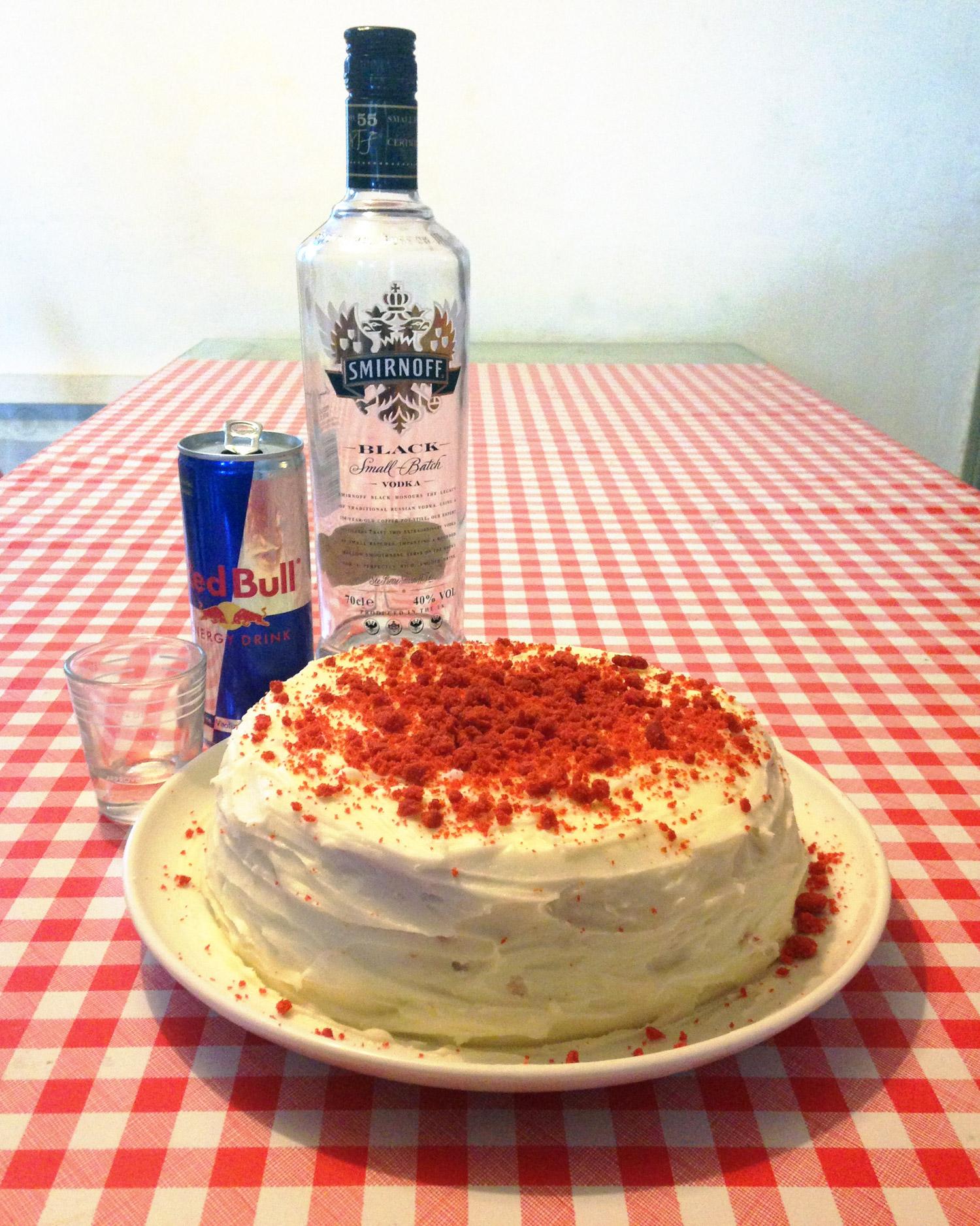 Red (Bull) Velvet Cake Recipe