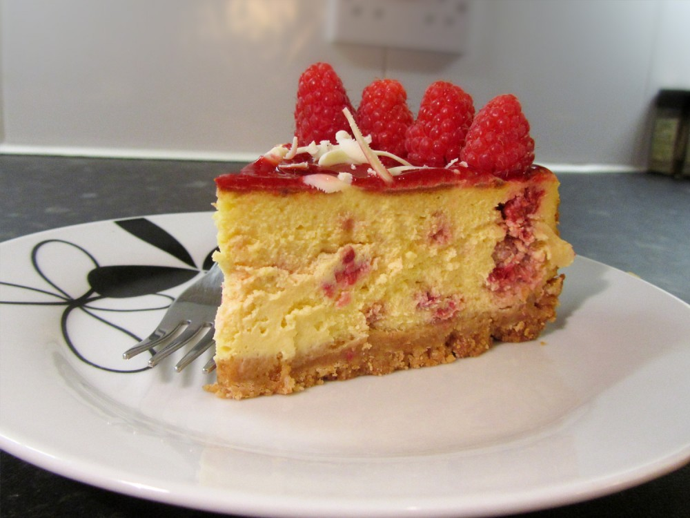 White Chocolate and Raspberry Cheesecake - Sliced